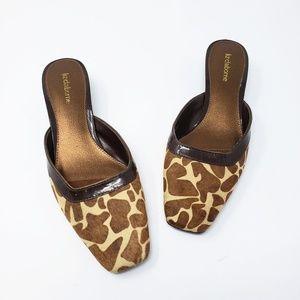 Liz Claiborne Bessie Leather Heel Giraffe Mules